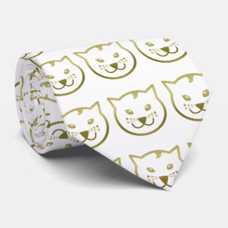 Faux Gold Cat Face - Custom background color Tie