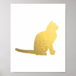 Faux gold cat illustration antique golden texture poster