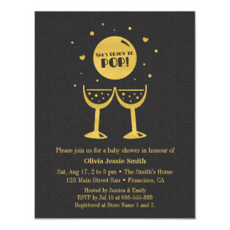Faux Gold Champagne Glass Ready to Pop Baby Shower Card