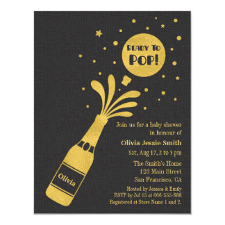 Faux Gold Champagne Ready to Pop Baby Shower Card