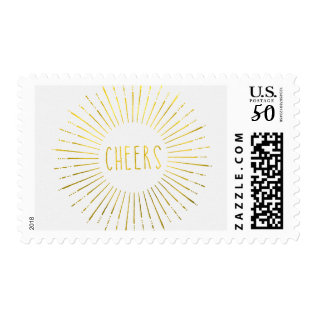 Faux Gold Cheers Stamps at Zazzle