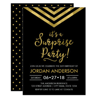 Faux Gold Chevron It's a Surprise Party Birthday Card