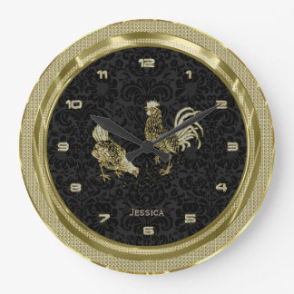 Faux Gold Chickens With Black Background 2 Wall Clocks