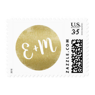 faux gold circle monogram wedding postage