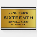 [ Thumbnail: Faux Gold Color Sixteenth Birthday Party Guestbook ]