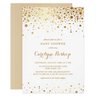 Faux Gold Confetti Dots Baby Shower Invitation