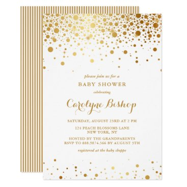Toddler & Baby themed Faux Gold Confetti Dots Baby Shower Invitation