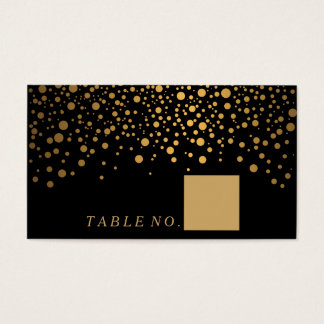 Faux Gold Confetti Dots on Black Place Cards