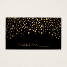 Faux Gold Confetti Dots On Black Place Cards at Zazzle