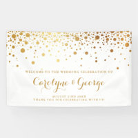 Faux Gold Confetti Dots Wedding Welcome Banner