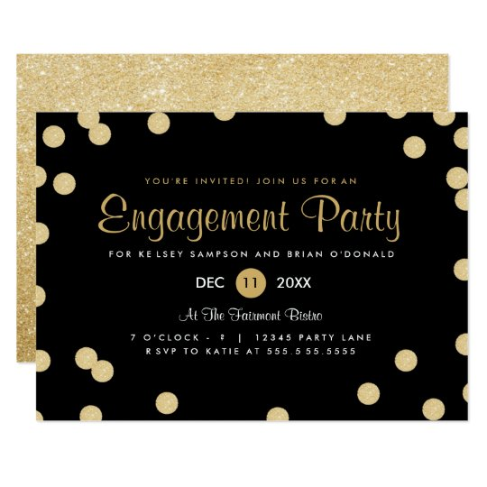 Faux gold confetti engagement party invite for Invitation for engagement party