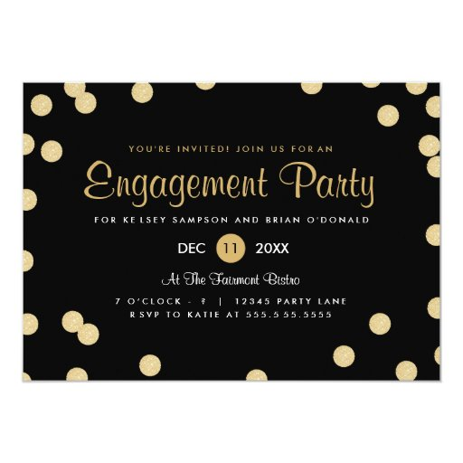 Faux Gold Confetti Engagement Party Invite