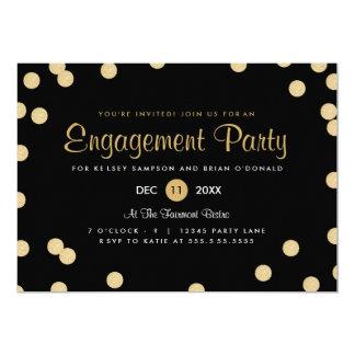 """Faux Gold Confetti Engagement Party Invite 5"""" X 7"""" Invitation Card"""
