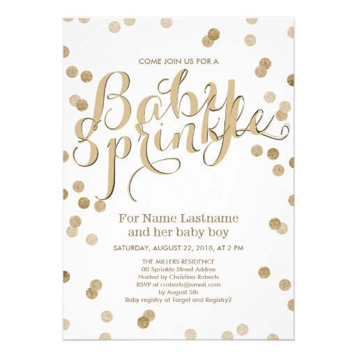 Personalized neutral baby shower invitations custominvitations4u faux gold confetti modern baby sprinkle invitation invite filmwisefo Images