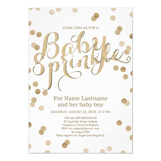faux gold confetti modern baby sprinkle invitation zazzle com
