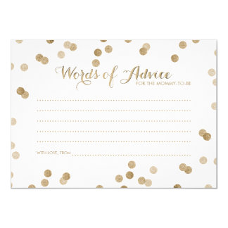 Faux Gold Confetti Modern Words of Advice Cards