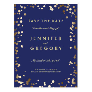 Faux Gold Confetti Navy Save the Date Postcards