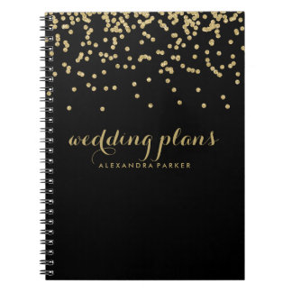 Faux Gold Confetti on Black | Any Subject Notebook