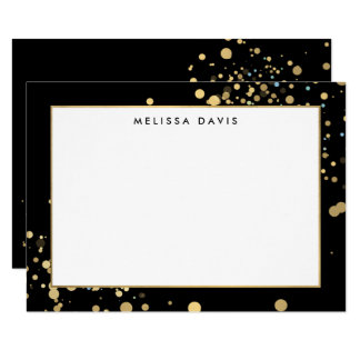 Faux Gold Confetti on Black Flat Notecard