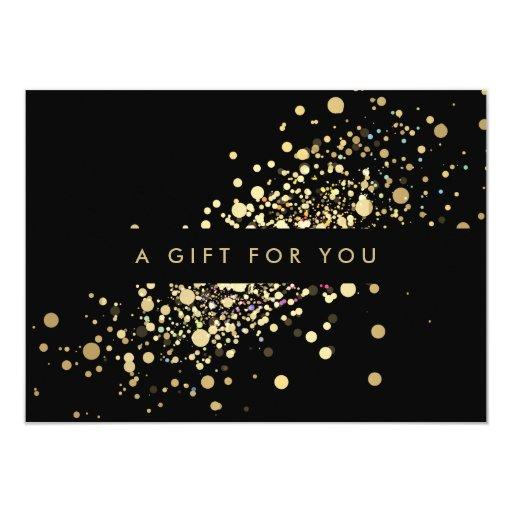 Faux Gold Confetti on Black Gift Certificate 4.5x6.25 Paper Invitation Card