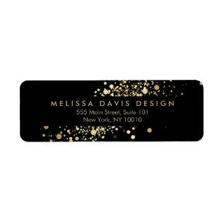 Faux Gold Confetti On Black Modern Address Label at Zazzle