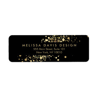 Faux Gold Confetti on Black Modern Address Label