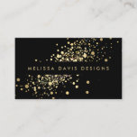"""Faux Gold Confetti on Black Modern Business Card<br><div class=""""desc"""">A fun splash of faux metallic gold confetti dots adorns this modern black business card design. This design is part of a series of coordinating office supplies. Shop matching stationery, rack cards, labels and more in our shop: zazzle.com/1201am. For design requests or questions, please reach out to us at www.1201am.com....</div>"""