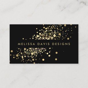 Music business cards 8000 music business card templates faux gold confetti on black modern business card colourmoves