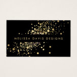 "Faux Gold Confetti on Black Modern Business Card<br><div class=""desc"">A fun splash of faux metallic gold confetti dots adorns this modern black business card design. This design is part of a series of coordinating office supplies. Shop matching stationery, rack cards, labels and more in our shop: zazzle.com/1201am. For design requests or questions, please reach out to us at www.1201am.com....</div>"