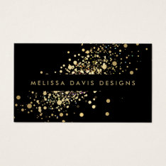 Faux Gold Confetti On Black Modern Business Card at Zazzle