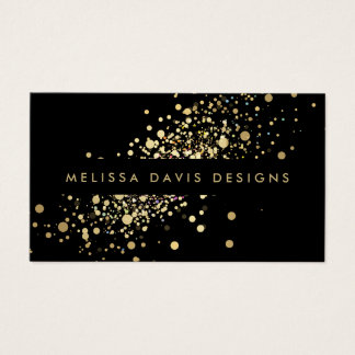 Faux Gold Confetti on Black Modern Business Card