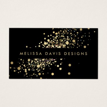 Professional Business Faux Gold Confetti on Black Modern Business Card