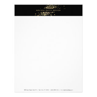 Faux Gold Confetti On Black Modern Letterhead at Zazzle