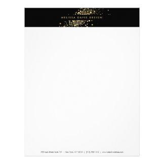 Faux Gold Confetti on Black Modern Letterhead