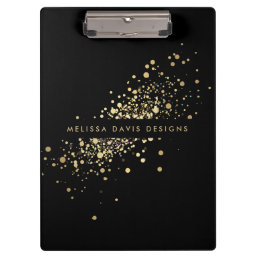 Faux Gold Confetti on Black Modern Personalized Clipboard