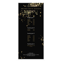 Faux Gold Confetti on Black Modern Rack Card