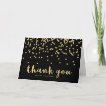 Faux Gold Confetti on Black | Thank You