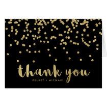 Faux Gold Confetti on Black | Thank You Card