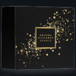 """Faux Gold Confetti on Modern Black Binder<br><div class=""""desc"""">Coordinates with the Faux Gold Confetti on Modern Black Business Card Template by 1201AM. A fun splash of faux metallic gold confetti dots adorns this modern and elegant black personalized binder. &#169; 1201AM CREATIVE</div>"""