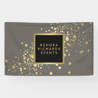 Faux Gold Confetti on Modern Gray Banner