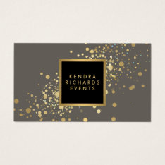 Faux Gold Confetti On Modern Gray Business Card at Zazzle