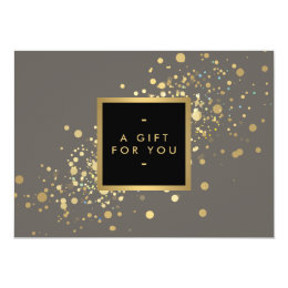 Faux Gold Confetti on Modern Gray Gift Certificate Card