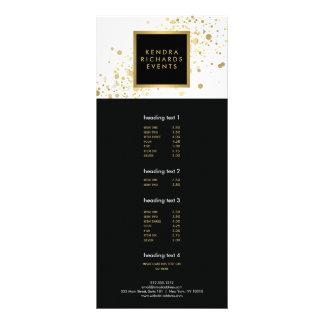 Faux Gold Confetti on Modern White Rack Card