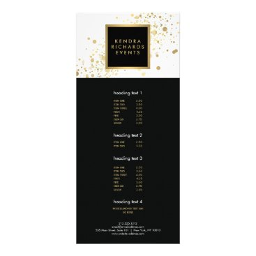 Faux Gold Confetti on Modern White Rack Card