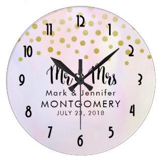 Faux Gold Confetti on Purple Mr. & Mrs. Wedding Large Clock