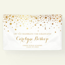 Faux Gold Confetti Personalized Graduation Banner