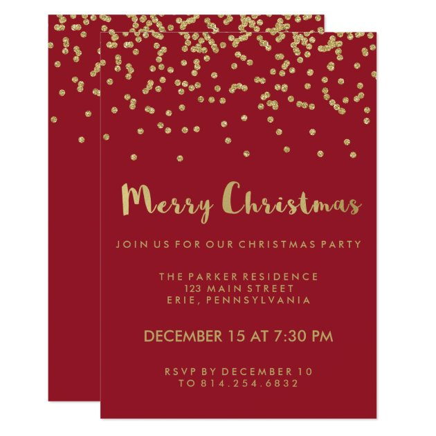 Faux Gold Confetti Red Merry Christmas Party Card