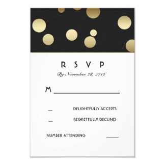Faux Gold Confetti Wedding RSVP Cards