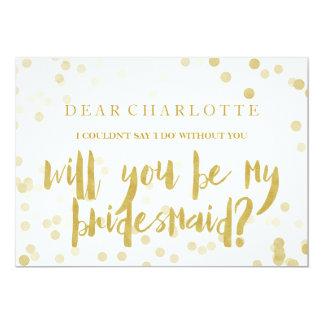 Faux Gold Confetti Will You Be My Bridesmaid Invitation
