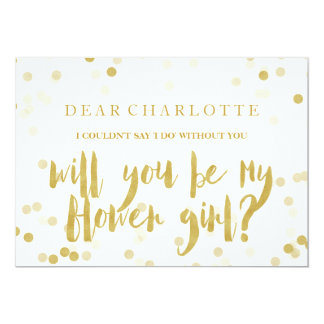 Faux Gold Confetti Will You Be My Flower Girl Invitation